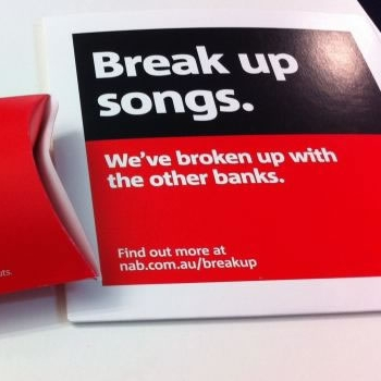 nab s break up campaign and the National australia bank's break up campaign - which depicted the bank ending an emotional relationship with other leading australian banks - has won the grand prix in pr at the cannes lions festival in france yesterday.