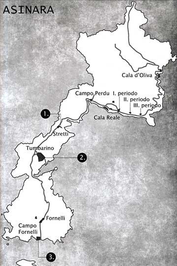 A Szardínia melletti Asinara térképvázlata a hadifogolytáborokkal