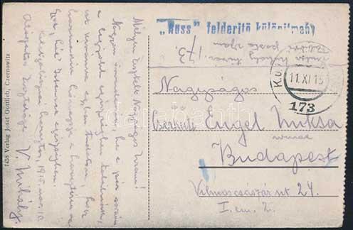 A Russ felderítő különítmény bélyegzőjével küldött tábori lap 1915. november 11-ei postabélyegzővel