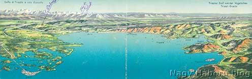 A Trieszti-öböl korabeli madártávlati rajza Kókay László jelöléseivel. 1916 tavaszán a Doberdón, San Martino del Carso mellett játszódott a korábbi, míg 1917 tavaszán a Fajti hribnél a most közölt naplója.