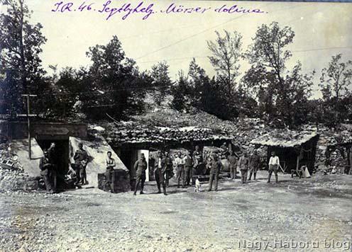 A cs. és kir. szegedi 46-os gyalogezred segélyhelye a Mörser dolinában