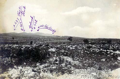 Kostanjevica és a tőle északra húzódó magaslatok, a napló eseményei helyszínének 1916-os fotója Kókay László jegyzeteivel (Kókay László hagyatékából)