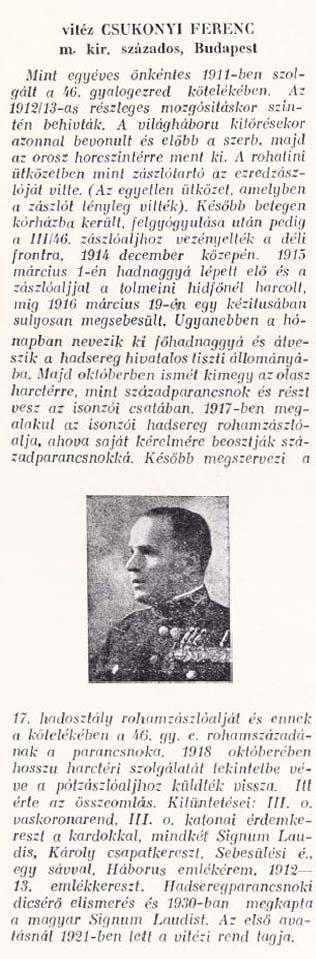 """A """"fő sturmos Csukonyi"""" – Csukonyi Ferenc százados, a napló időszakában a cs. és kir. szegedi 46. gyalogezred rohamszázadának a parancsnoka, ideiglenesen a rohamzászlóalj parancsnoka"""